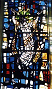 Stained glass window at First Lutheran Church
